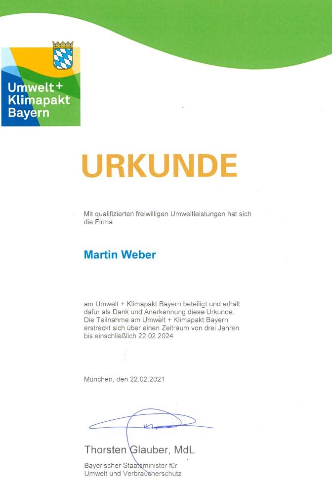 Urkunde Umwelt- und Klimapakt Bayern