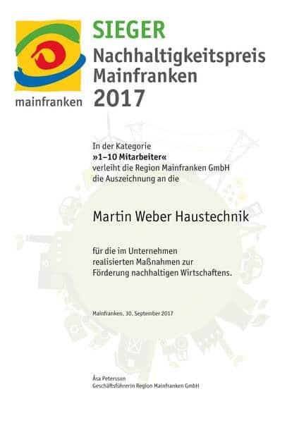 Auszeichnung Urkunde Nachhaltigkeitspreis  2017