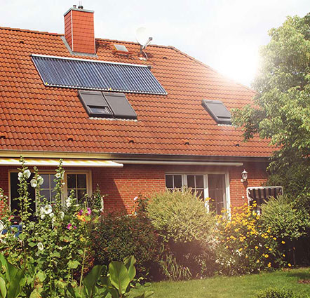 Solarheizung auf dem Hausdach